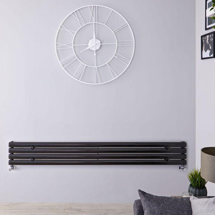 Radiador de Diseño Horizontal - Negro Lúcido - 236mm x 1780mm x 56mm - 646 Vatios - Revive