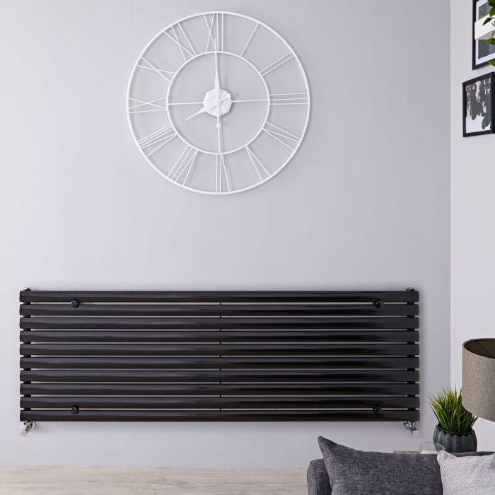 Radiador de Diseño Horizontal - Negro Lúcido - 590mm x 1780mm x 55mm - 1476 Vatios - Revive