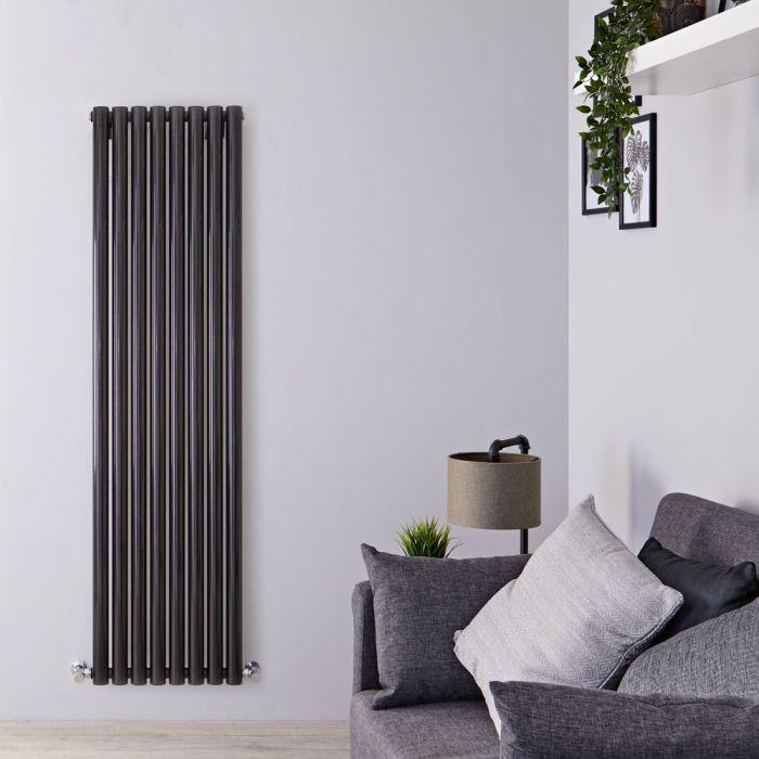 Radiador de Diseño Vertical - Negro Lúcido - 1780mm x 472mm x 80mm - 1391 Vatios - Savy
