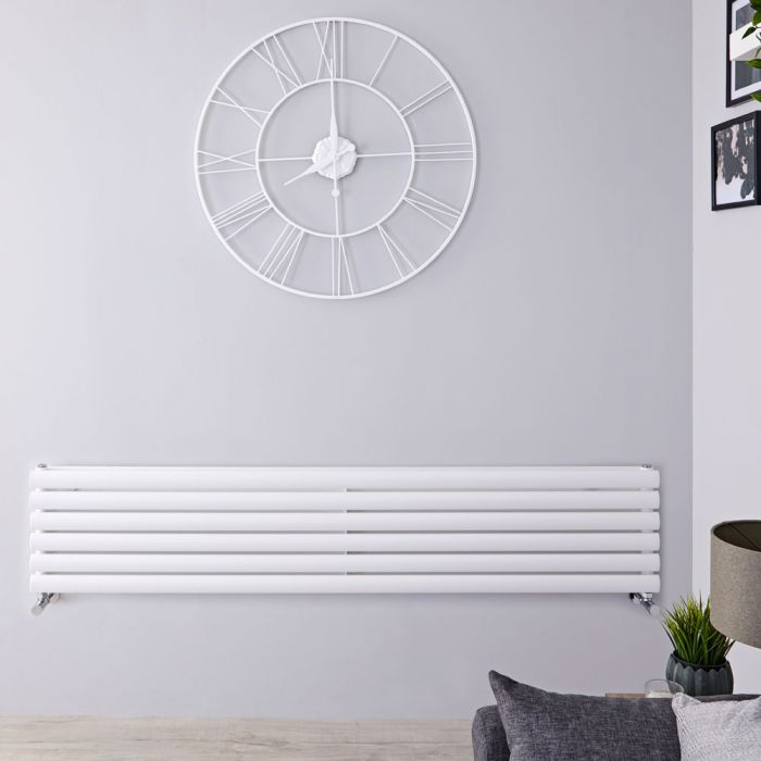 Radiador de Diseño Horizontal Doble - Blanco - 354mm x 1780mm x 78mm - 1324 Vatios - Revive