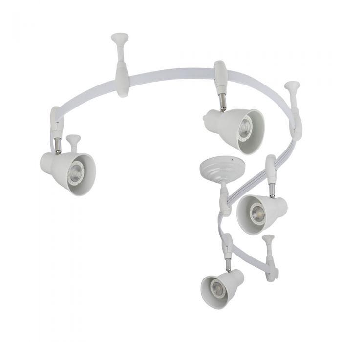Biard Kit Completo con Rail Flexible Blanco de 2m y 4 Focos LED de Carril - Panza