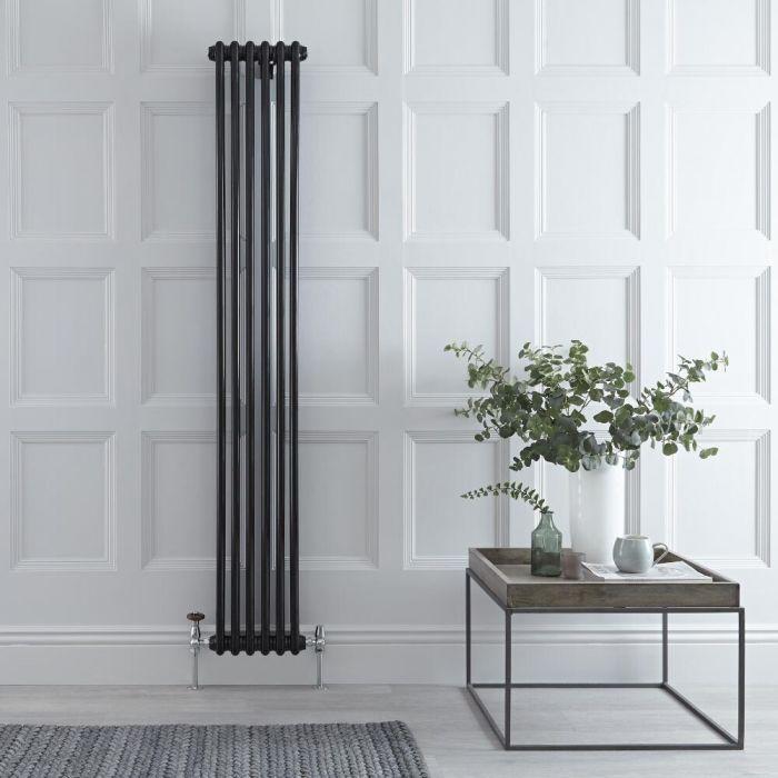 Radiador de Diseño Vertical Doble Tradicional - Negro - 1800mm x 290mm x 68mm - 934 Vatios - Regent
