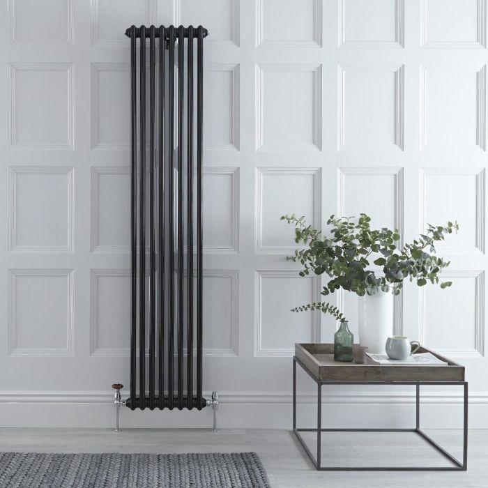 Radiador de Diseño Vertical Doble Tradicional - Negro - 1800mm x 380mm x 68mm - 1245 Vatios - Regent