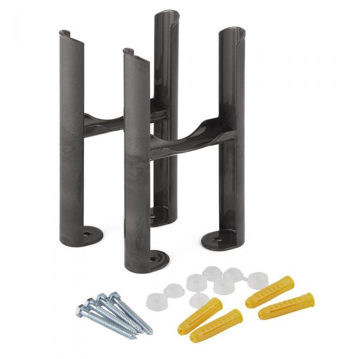 Conjunto de Soporte para Montaje a Suelo Para Radiadores Tradicionales de Color Metal Rudo con 3 Columnas