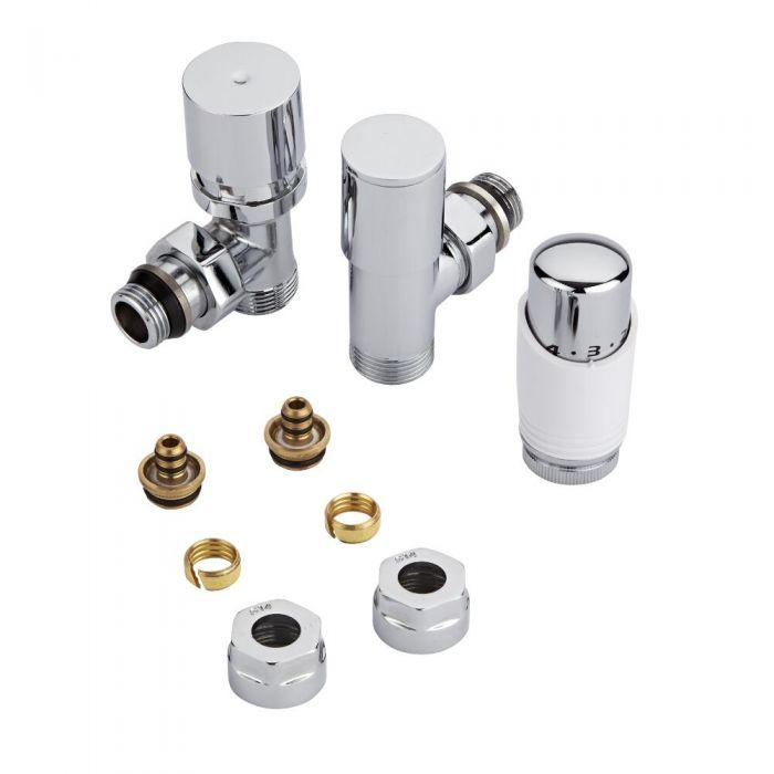 Par de Llaves Termostáticas Con Cabezal Blanco para Radiador y Toallero de ¾″ con Adaptadores para Tubos Pex o Multicapa de 14mm