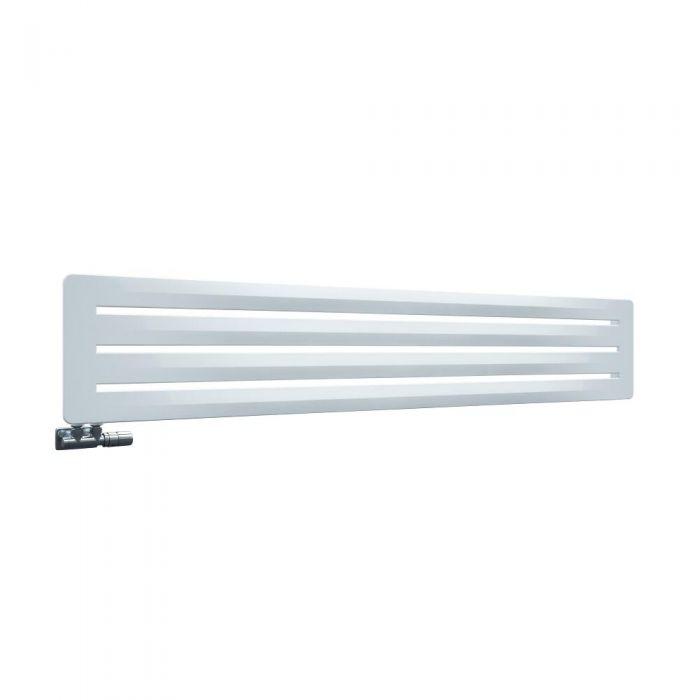 Radiador de Diseño Horizontal Con Conexión Central - Blanco - 325mm x 1800mm x 11mm – 737 Vatios - Leba