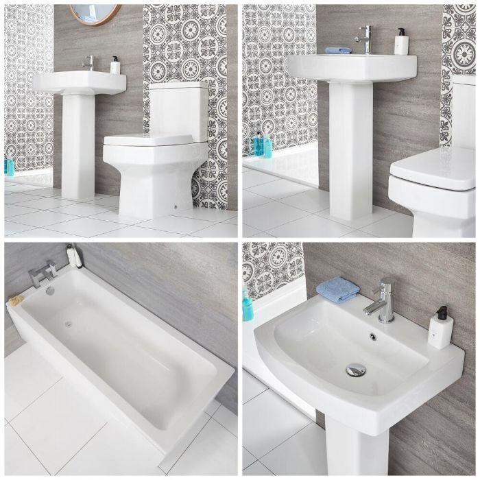 Conjunto para Baño Moderno Completo con Bañera Recta Estándar, Inodoro Adosado y Lavabo con Pedestal -  Exton