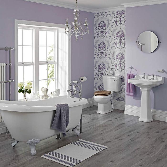 Conjunto Tradicional Completo con Bañera, Lavabo y WC con Cisterna de Cerámica Completo con Grifería y Tapa WC -  Carlton