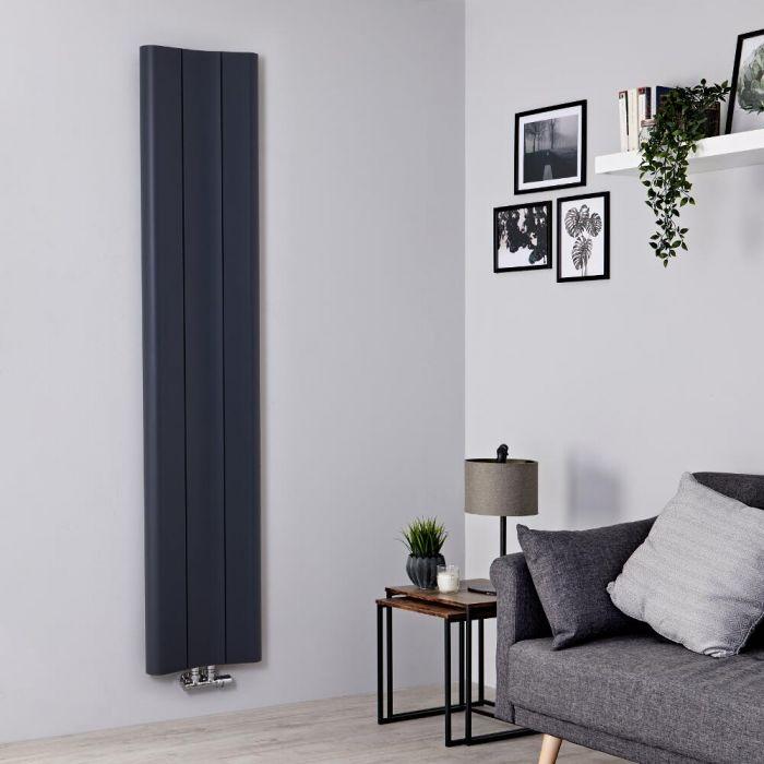 Radiador de Diseño Vertical - Aluminio - Antracita - 1800mm x 370mm - 978 Vatios - Aloa