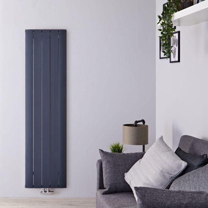 Radiador de Diseño Vertical Con Conexión Central - Aluminio - Antracita - 1800mm x 470mm x 46mm - 1729 Vatios - Aurora