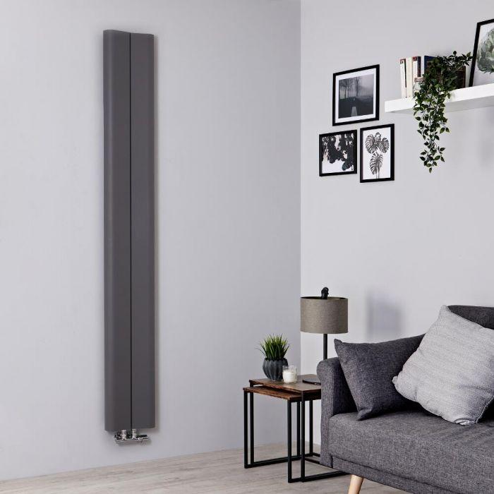 Radiador de Diseño Vertical - Aluminio - Gris Claro - 1800mm x 245mm - 652 Vatios - Aloa