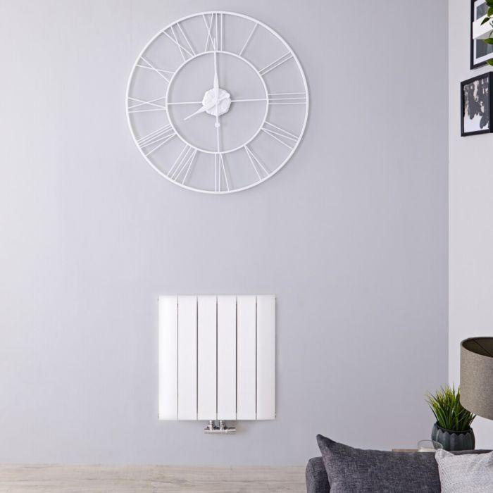 Radiador de Diseño Horizontal Con Conexión Central - Aluminio - Blanco - 600mm x 565mm x 46mm - 768 Vatios - Aurora