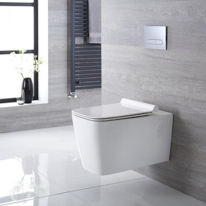 Inodoro WC Cuadrado Moderno Suspendido 360x345x570mm con Tapa de WC Soft Close -  Sandford