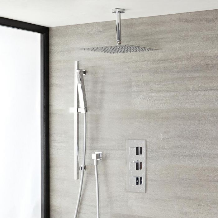 Conjunto de ducha Termostática, Alcachofa de Ducha de 300mm, Ducha de Mano, Barra, Brazo y Codo - Kubix