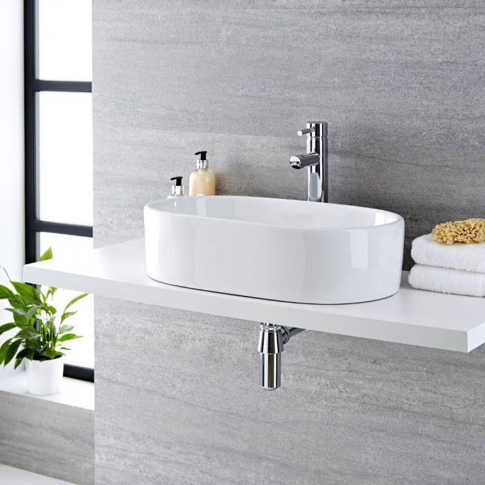 Lavabo Sobre Encimera Oval de Cerámica 575x360mm con mini mezclador de lavabo - Otterton