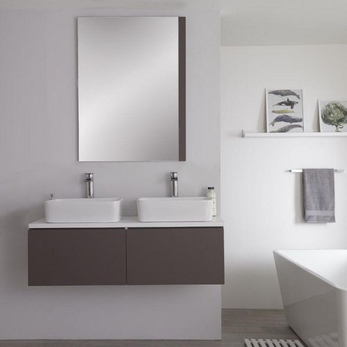 Mueble Base Mural de 1200mm Color Gris Opaco para Lavabo de Sobre Encimera con Encimera Blanca y Opción LED con 2 Lavabos Rectangulares – Newington