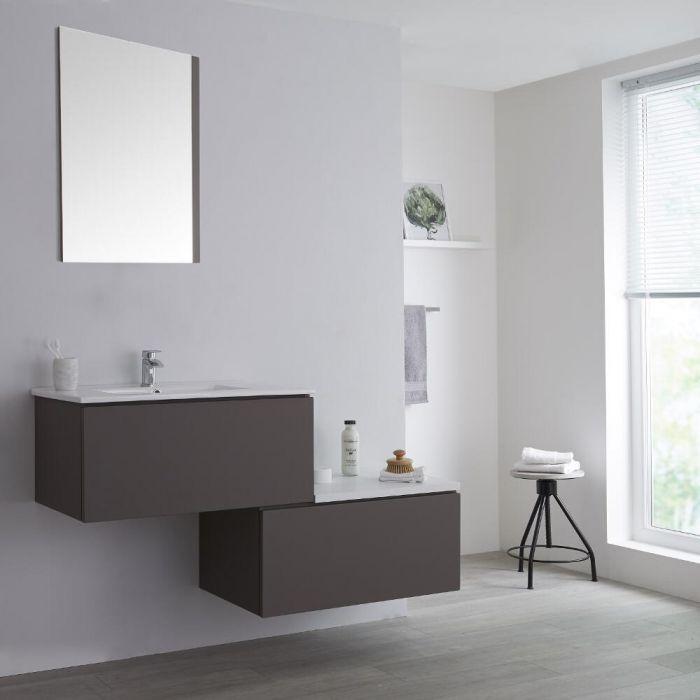 Mueble Base Mural Completo con Lavabo de Sobre Encimera de Color Gris Opaco con Diseño Escalonado de 1400mm con Opción LED - Newington