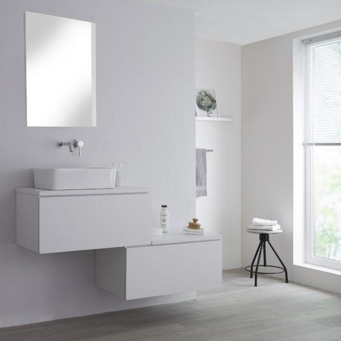 Mueble Base Mural para Lavabo de Sobre Encimera de Color Blanco Opaco con Diseño Escalonado de 1400mm Disponible con Opción LED con Lavabo Rectangular - Newington
