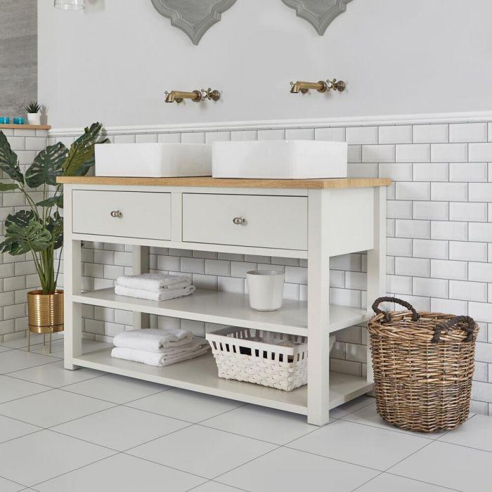 Mueble de Lavabo Compacto Tradicional de 1240mm Color Blanco Antiguo con Encimera y Lavabos Sobre Encimera Cuadrados – Stratford
