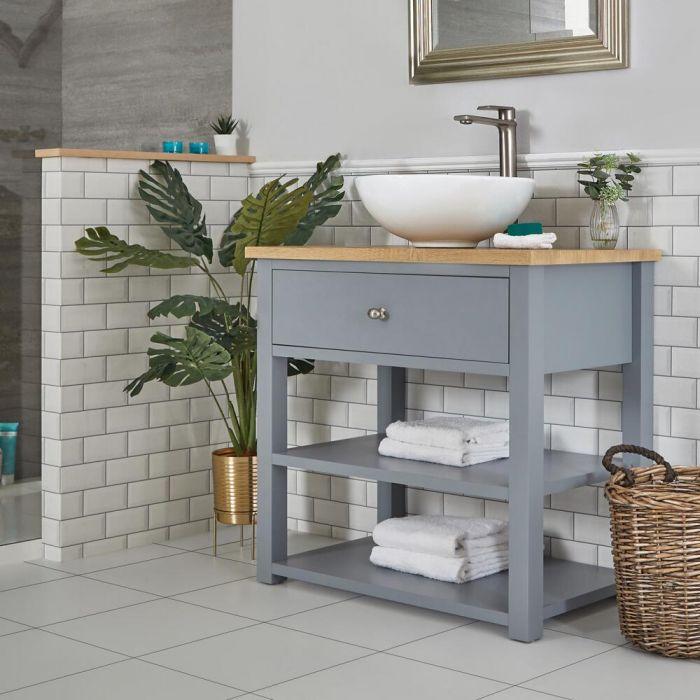 Mueble de Lavabo Compacto Tradicional de 840mm Color Gris Claro con Encimera y Lavabo Sobre Encimera Redondo – Stratford