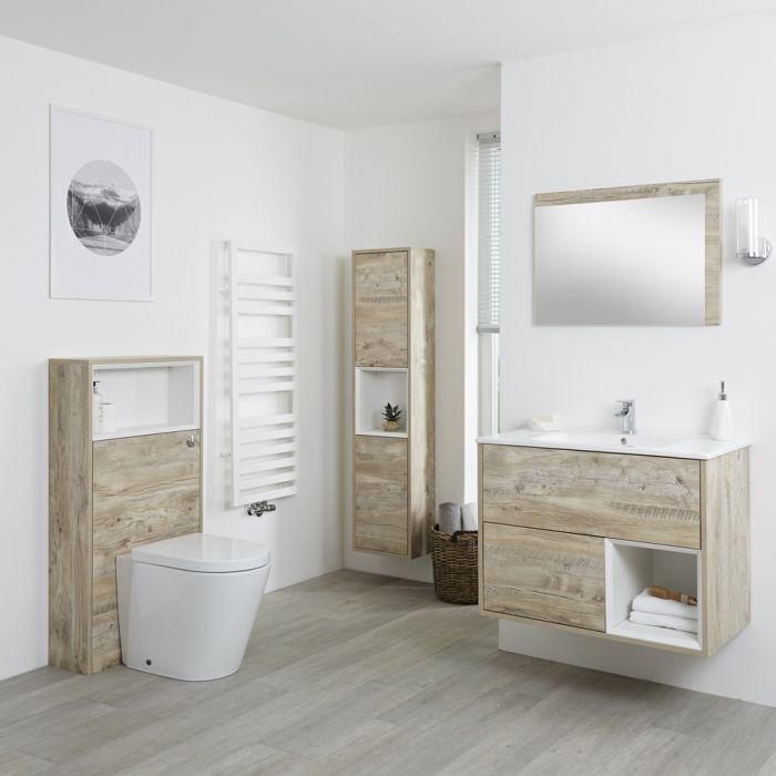 Conjunto de Baño con Diseño Abierto de Color Roble Claro Completo con Mueble Para Lavabo de 800mm, Mueble de Pared de 1500mm, Mueble de WC, Espejo, Lavabo, WC y Cisterna - Hoxton
