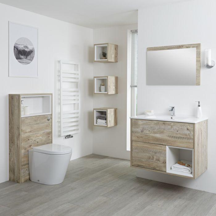 Conjunto de Baño con Diseño Abierto de Color Roble Claro Completo con Mueble Para Lavabo de 800mm, Lavabo, WC y Cisterna - Hoxton