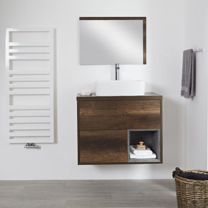 Mueble de Lavabo Mural de 800mm Color Roble Oscuro con Diseño Abierto con Lavabo de Sobre Encimera Rectangular - Hoxton