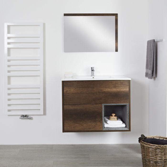 Mueble de Lavabo Mural de 800mm Color Roble Oscuro con Diseño Abierto con Lavabo - Hoxton