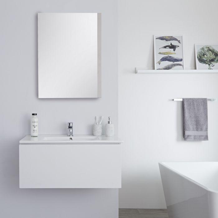 Mueble de Lavabo Mural Moderno de 800mm Color Blanco Opaco con Lavabo Integrado para Baño Disponible con Opción LED  - Newington