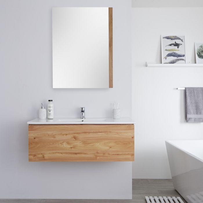 Mueble de Lavabo Mural Moderno de 1000mm Color Roble Dorado con Lavabo Integrado para Baño Disponible con Opción LED  - Newington
