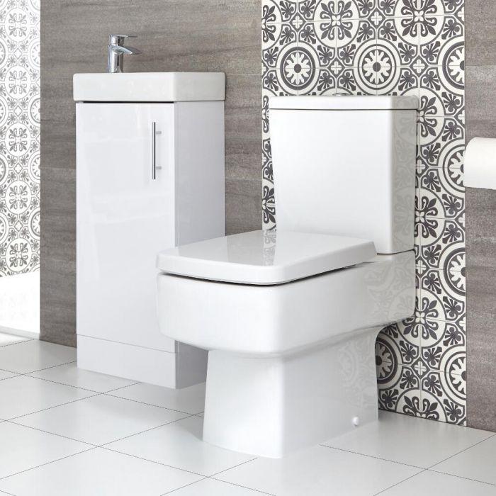 Conjunto de Baño Exton Completo con Mueble de Lavabo a Suelo de 400mm e Inodoro Monobloque - Selección de Acabados