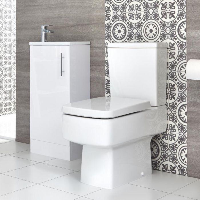 Conjunto de Baño Exton Completo con Mueble de Lavabo a Suelo de 400mm con Lavabo Compacto e Inodoro Monobloque - Selección de Acabados