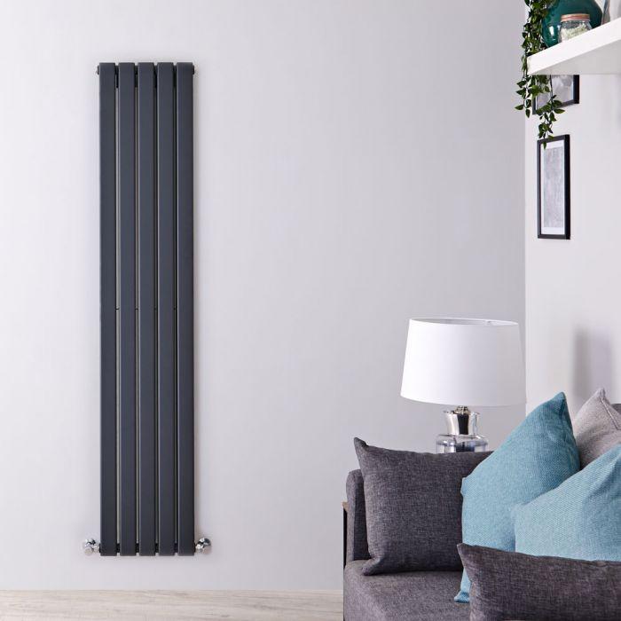Radiador de Diseño Vertical Doble - Antracita - 1600mm x 350mm x 60mm - 1102 Vatios - Delta