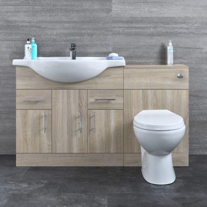 Mueble de Baño con Lavabo e Inodoro Integrado de Cerámica con 3 Puertas y 2 Cajones de MDF Efecto Roble de 1335x850x835mm - Classic Oak