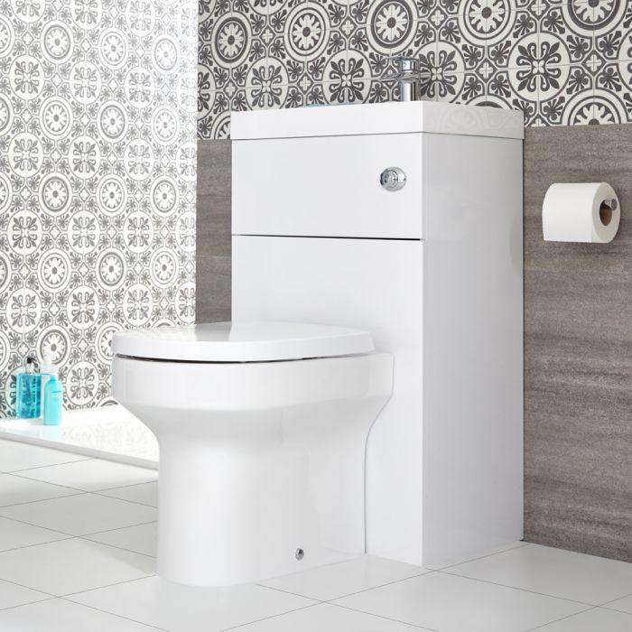 Conjunto de Baño Moderno Blanco Completo con Mueble de Lavabo e Inodoro Integrado de 500x800mm - Cluo