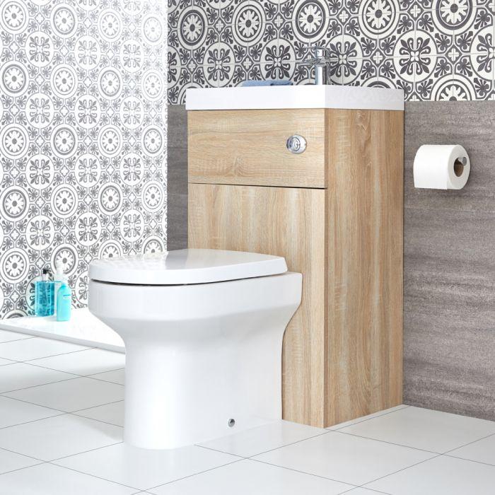 Conjunto de Baño Moderno de 500x800mm Color Efecto Roble Completo con Mueble de Lavabo e Inodoro Integrado  - Cluo