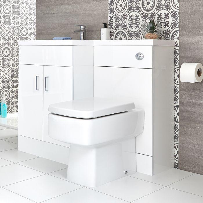 Conjunto de Baño Moderno Color Blanco Completo con Mueble de Lavabo en Versión Izquierda e Inodoro Integrado de 500x890mm - Geo