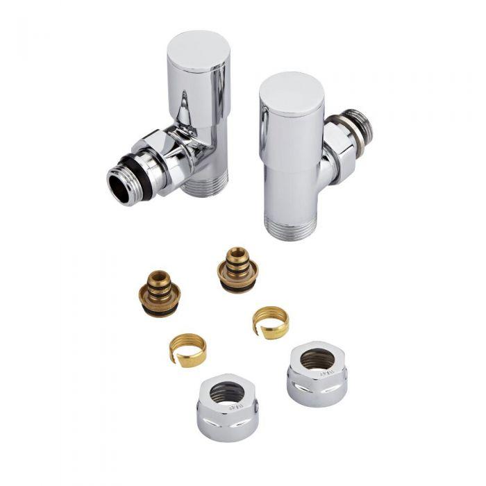 Par de Llaves Angulares para Radiador y Toallero con Adaptador Múltiple para Tubos Pex o Multicapa 16mm