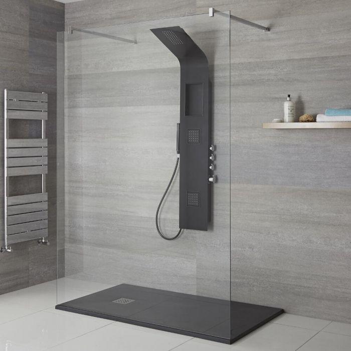 Panel de Ducha Termostático Negro de 3 Funciones 1450x245x495mm con Erogador Integrado, Repisa y Ducha de Mano con Flexo de Ducha - Stamford