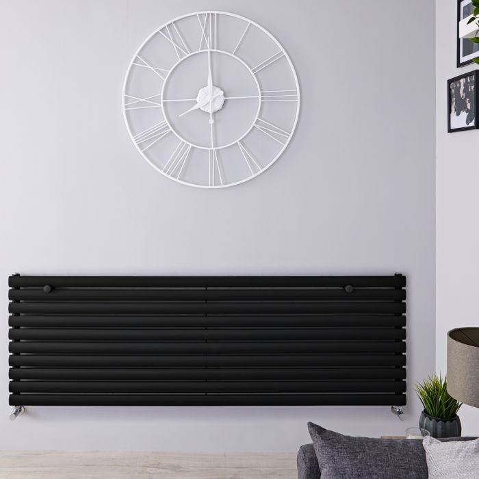 Radiador de Diseño Horizontal - Negro Mate - 590mm x 1780mm x 55mm - 1476 Vatios - Revive