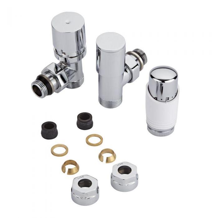 Par de Llaves Termostáticas Con Cabezal Blanco para Radiador y Toallero con Adaptadores para Tubos de Cobre de 14mm