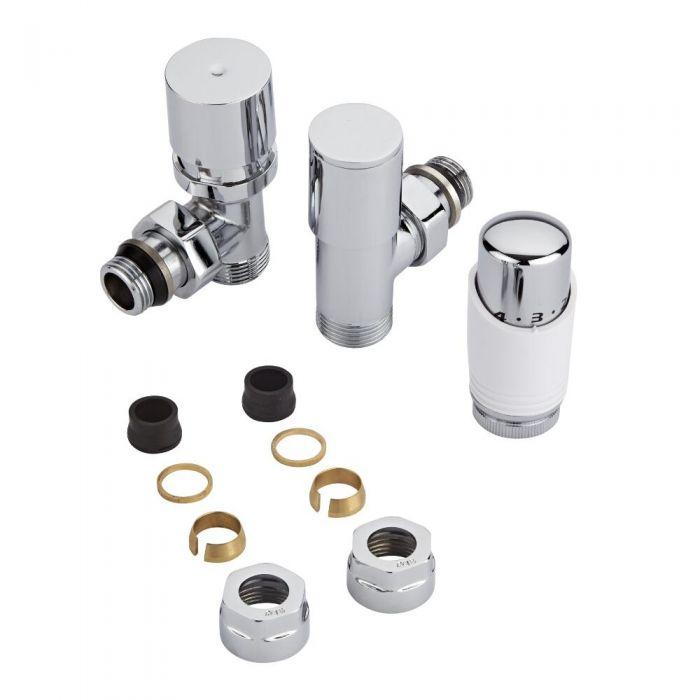 Par de Llaves Termostáticas Con Cabezal Blanco para Radiador y Toallero con Adaptadores para Tubos de Cobre de 16mm