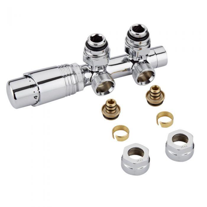 Llaves Angulares Cromadas para Radiador y Toallero con  Cabezal Termostático Cromado y Adaptadores para Tubos Pex o Multicapa de 16mm - Multiblock H