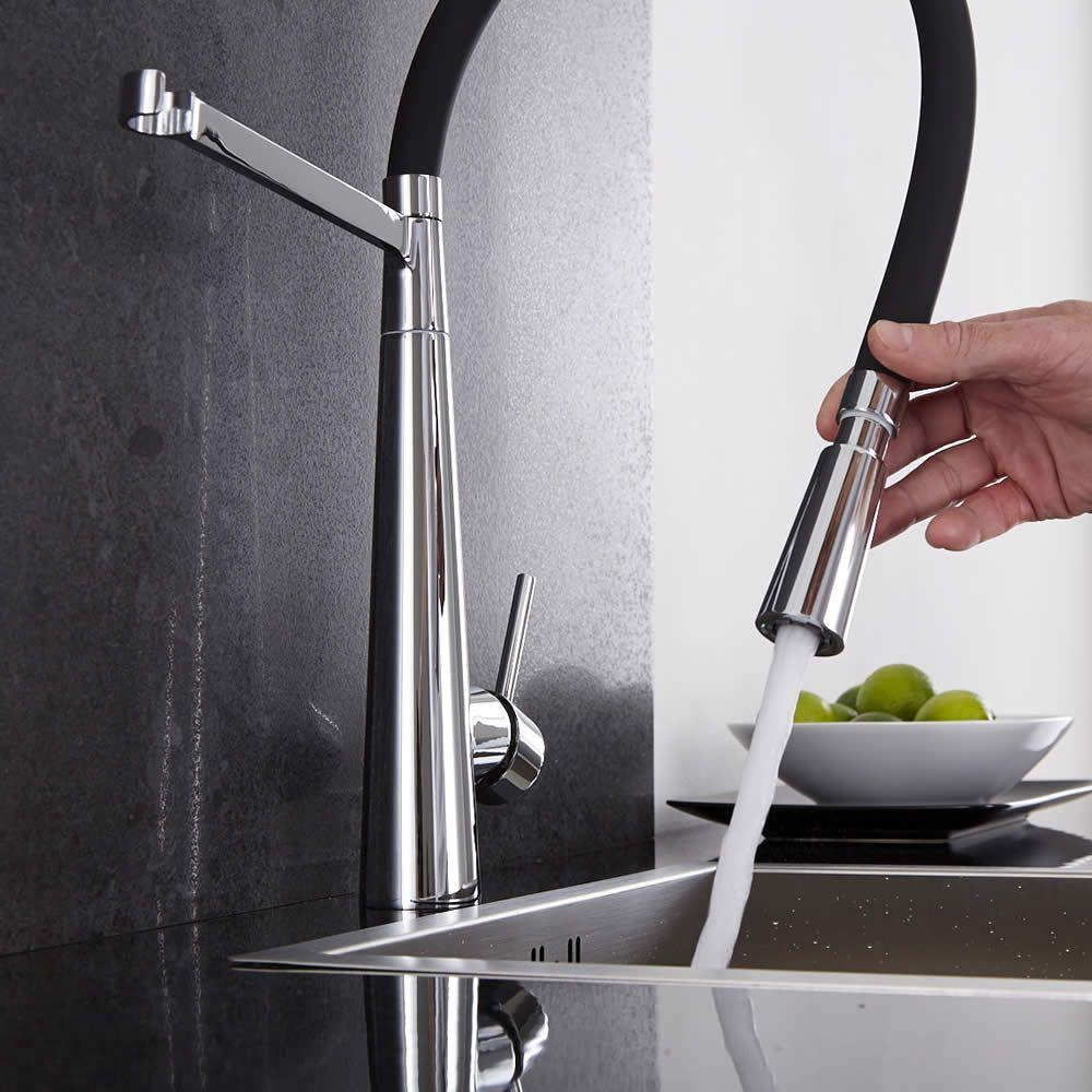 Grifo mezclador de cocina negro con ducha extra ble for Grifo cocina negro