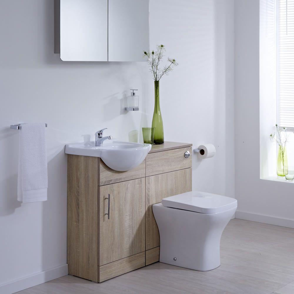 Mueble de lavabo con inodoro integrado efecto roble 41x78x30cm - Lavabos con mueble ...