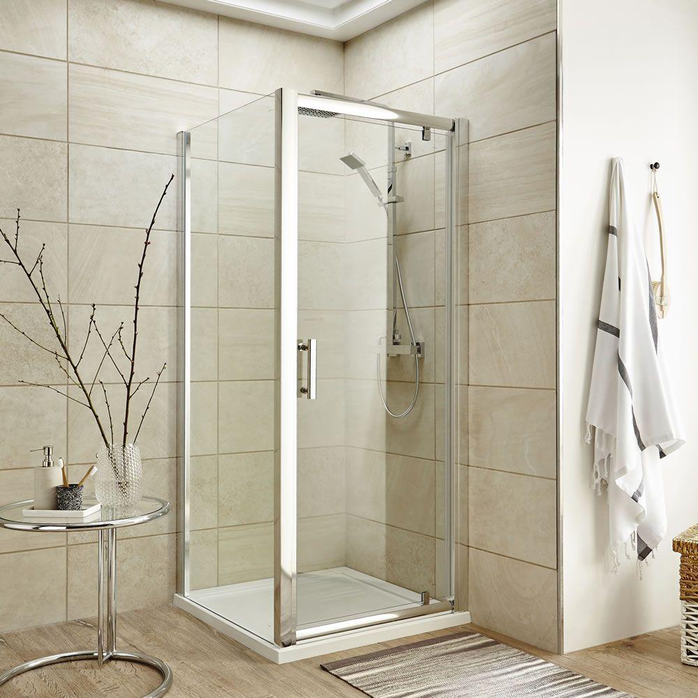 Mampara de ducha angular fija con puerta abatible 800x1850mm - Mampara fija ducha ...