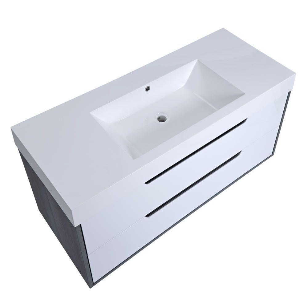 Mueble De Lavabo Suspendido Con Acabado Color Blanco Lacado  # Muebles Newport