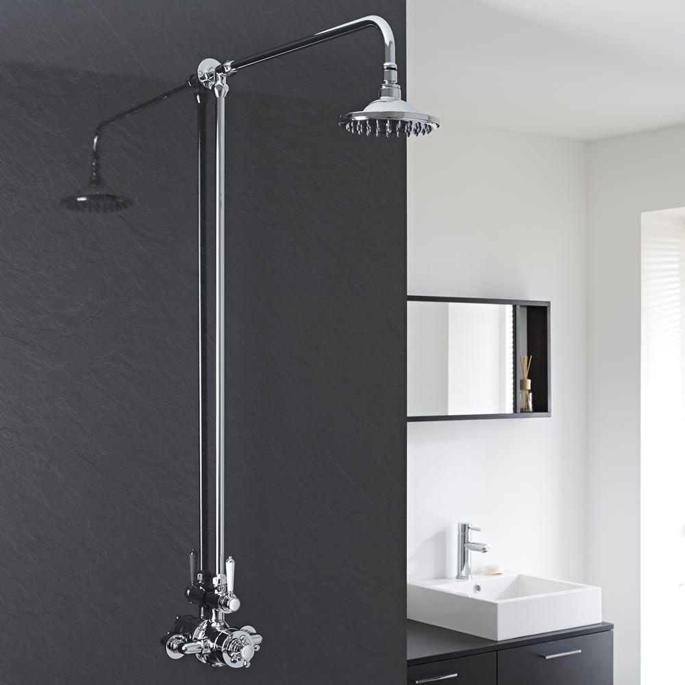 Conjunto de ducha tradicional en cromo y llave for Tipos de llaves para duchas