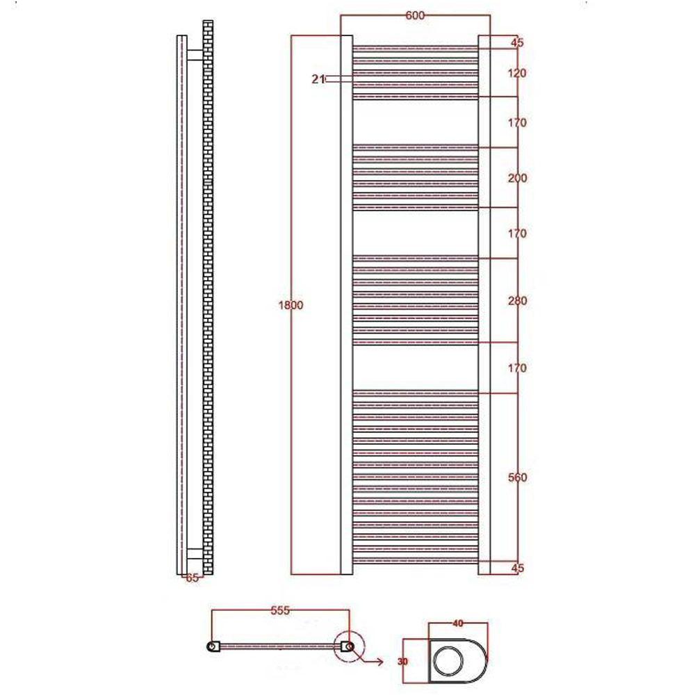 Radiador toallero plano cromado 1800mm x 600mm x 30mm for Radiador toallero cromado