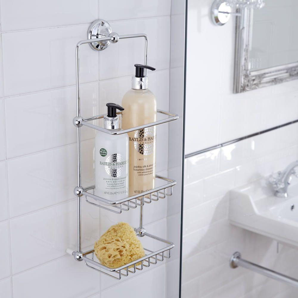 Cesta porta accesorios doble para ducha y ba era con for Bandeja para banera